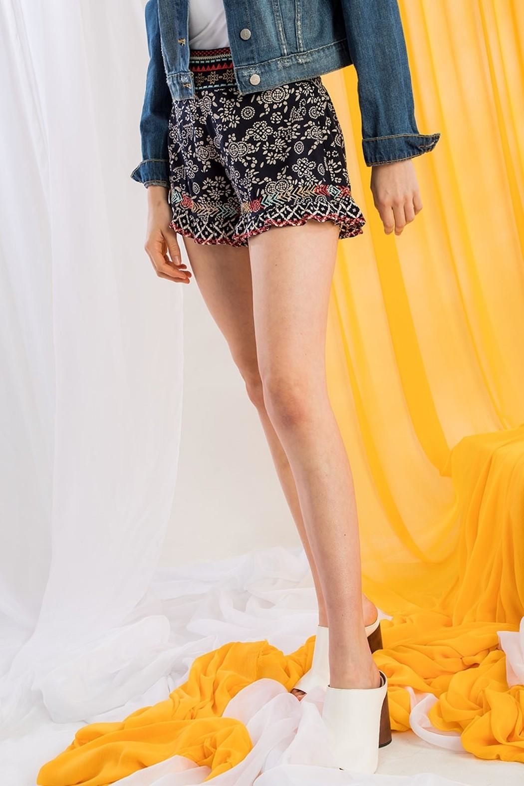 THML Clothing Printed Embroidered Shorts - Back Cropped Image