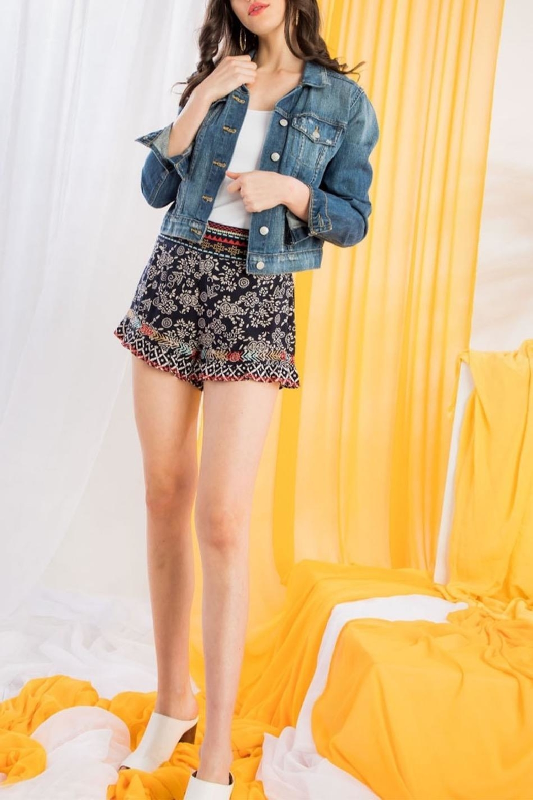 THML Clothing Printed Embroidered Shorts - Main Image