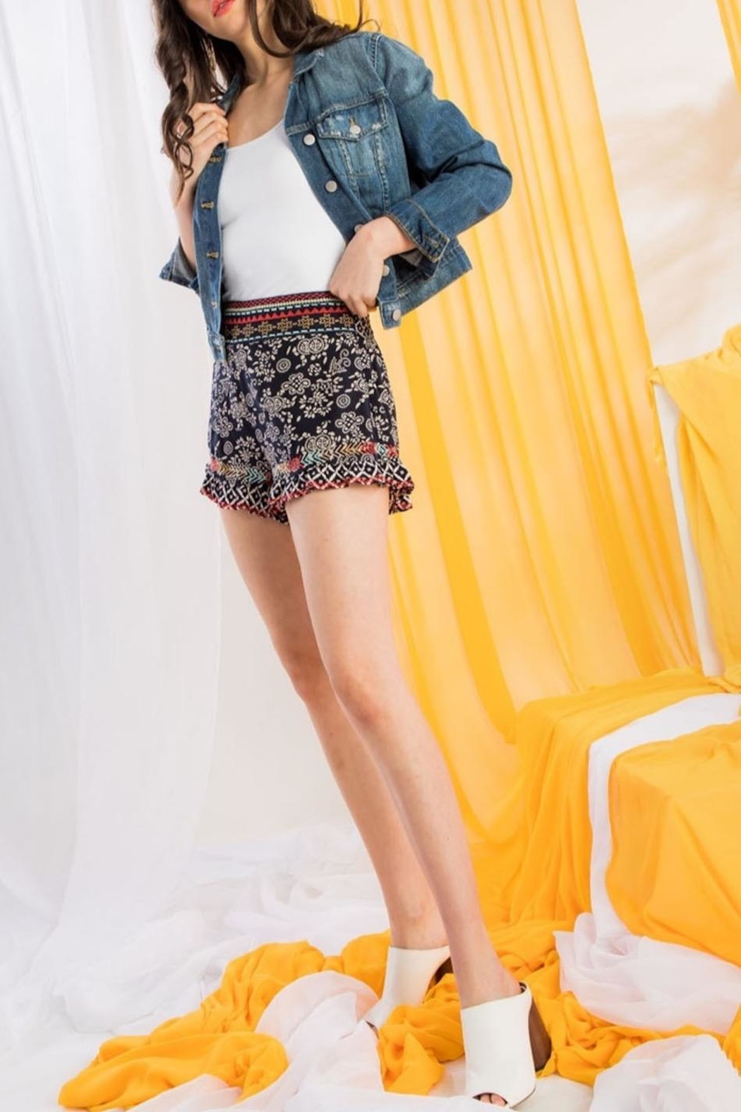 THML Clothing Printed Embroidered Shorts - Front Full Image