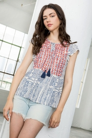 Thml Printed Embroidered Tassel Tie Top - Product Mini Image