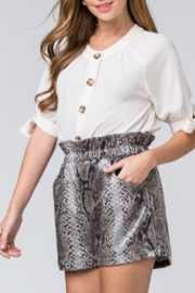 Entro Printed Faux Leather Shorts - Front full body