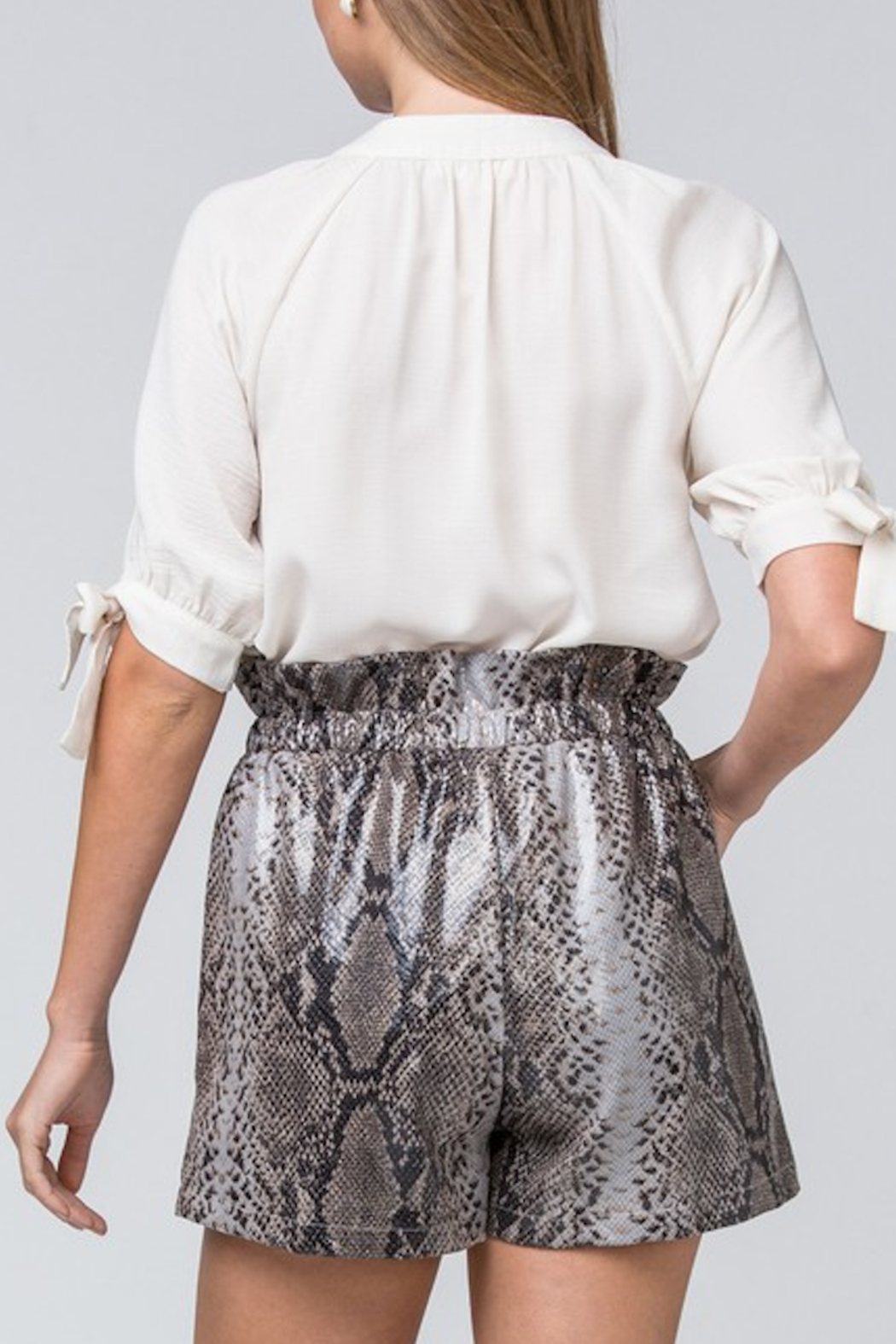 Entro Printed Faux Leather Shorts - Back Cropped Image