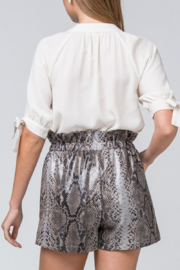 Entro Printed Faux Leather Shorts - Back cropped