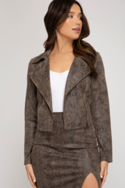 She & Sky  Printed Faux Suede Moto Jacket - Product Mini Image