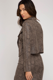 She & Sky  Printed Faux Suede Moto Jacket - Front full body