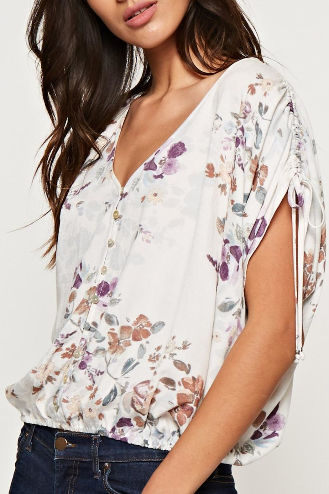 Lovestitch Printed Floral Blouse - Back Cropped Image