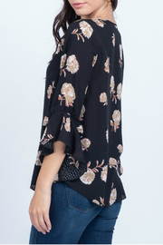 Everly Printed floral woven ruffle sleeve top - Front full body