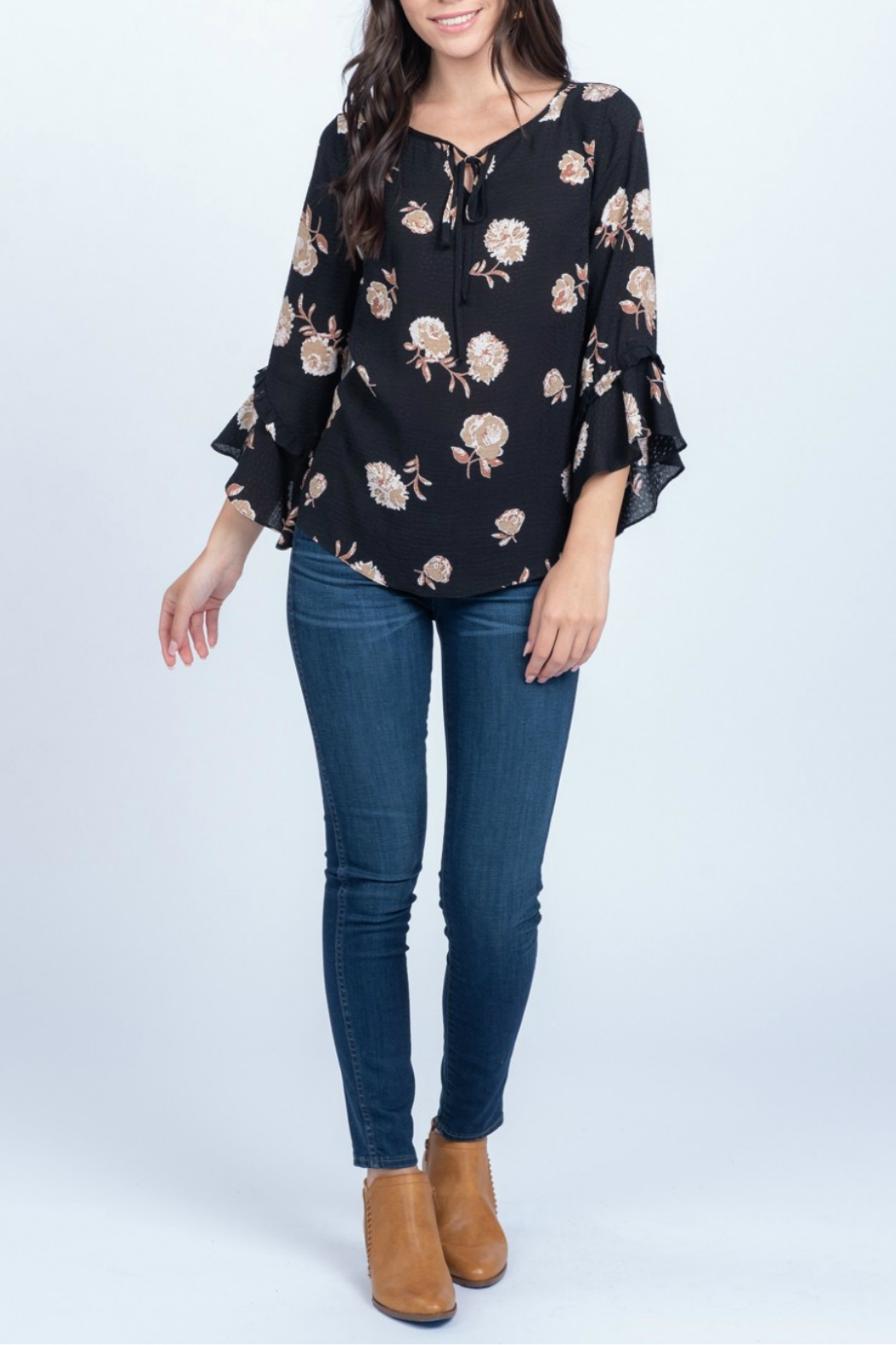 Everly Printed floral woven ruffle sleeve top - Main Image