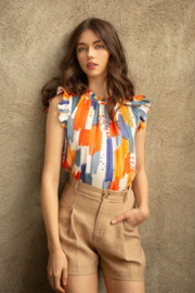 Thml Printed Flutter Sleeve Top - Product Mini Image