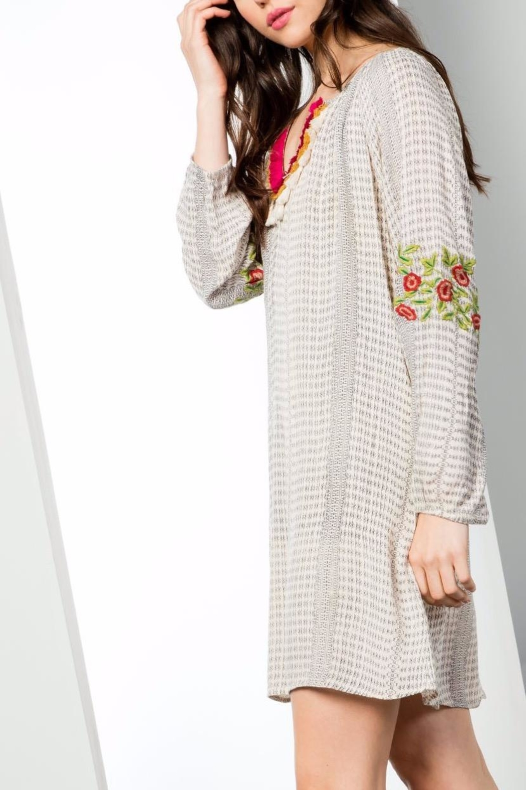 THML Clothing Printed Fringed Dress - Side Cropped Image