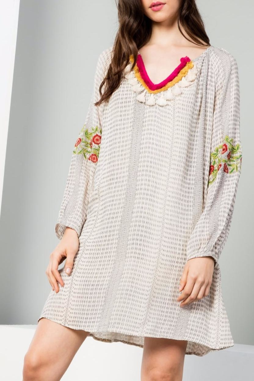 THML Clothing Printed Fringed Dress - Front Full Image