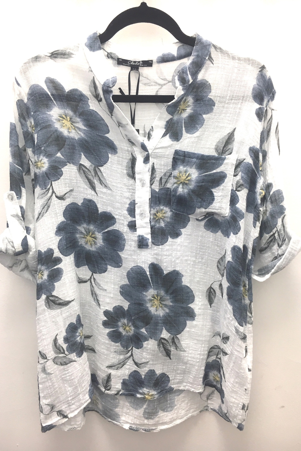 Charlie B Printed Gauze Pop Over Shirt - Front Full Image