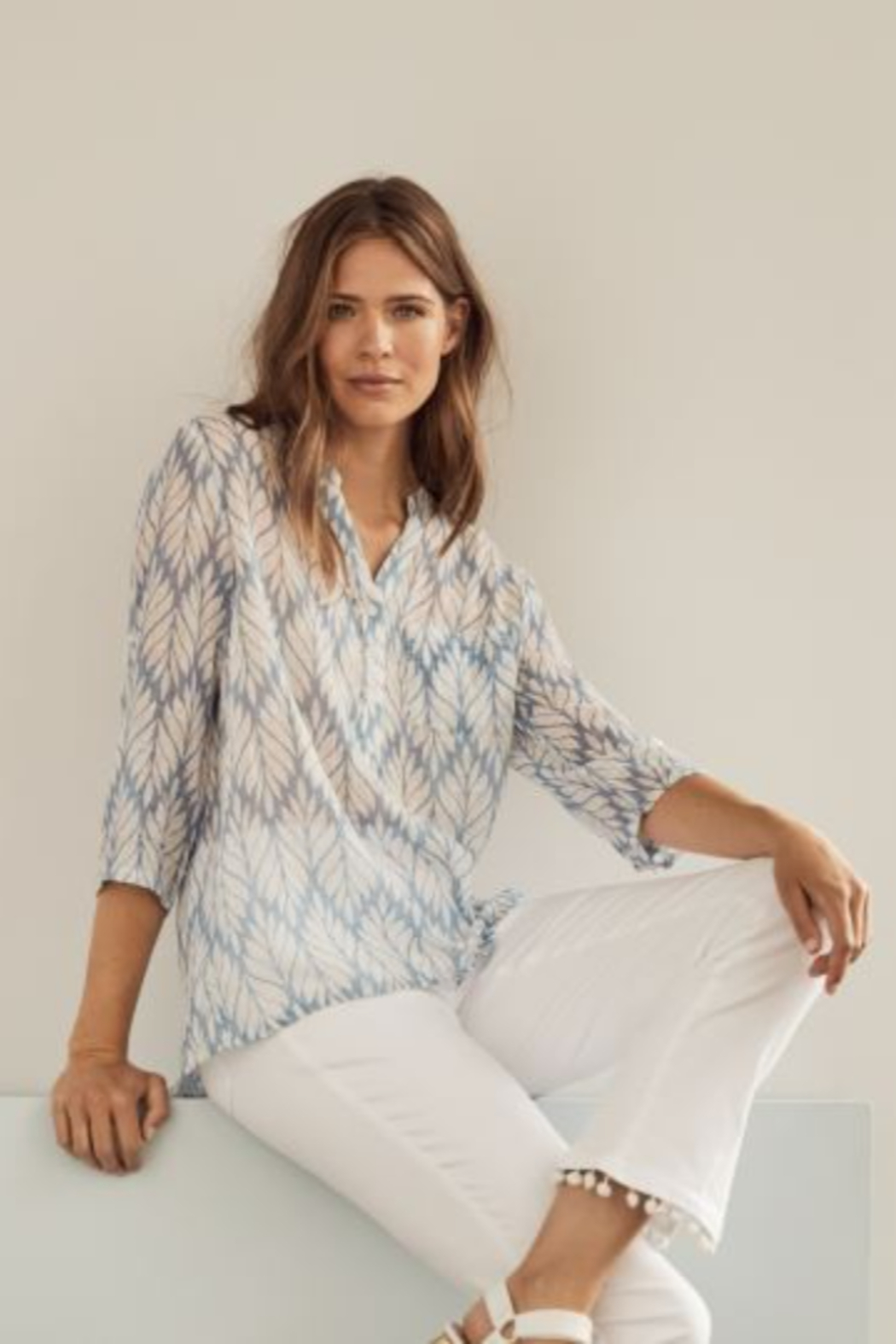 Charlie B. Printed Gauze Roll-up Sleeve Shirt - Front Cropped Image