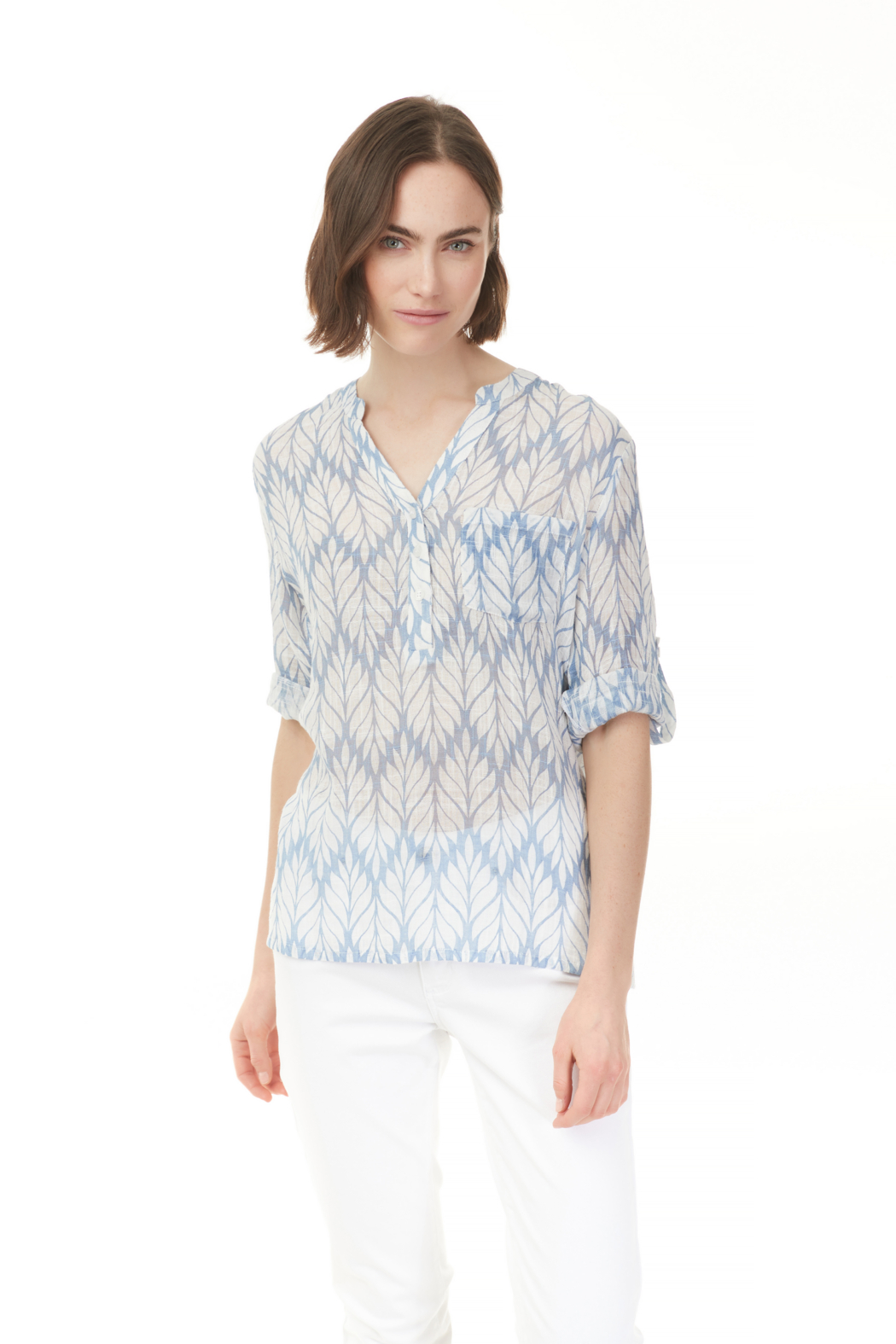 Charlie B. Printed Gauze Roll-up Sleeve Shirt - Front Full Image