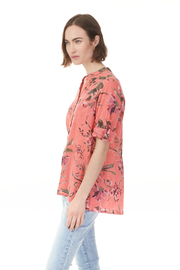 Charlie B. Printed Gauze Roll-up Sleeve Shirt - Front full body