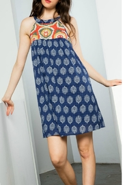 THML  Printed Halter Dress with Embroidery - Product Mini Image