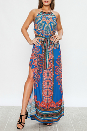 Flying Tomato Printed halter maxi - Front cropped