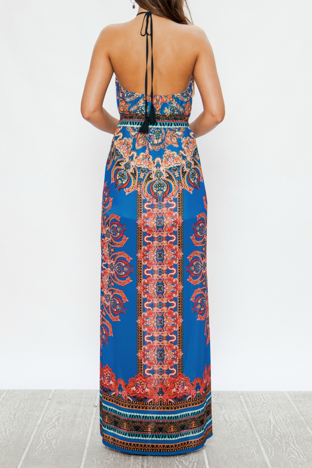 Flying Tomato Printed halter maxi - Side Cropped Image