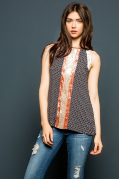Thml Printed Halter Top with Velvet Panel - Product List Image