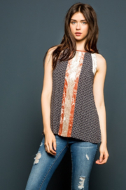 Thml Printed Halter Top with Velvet Panel - Product Mini Image