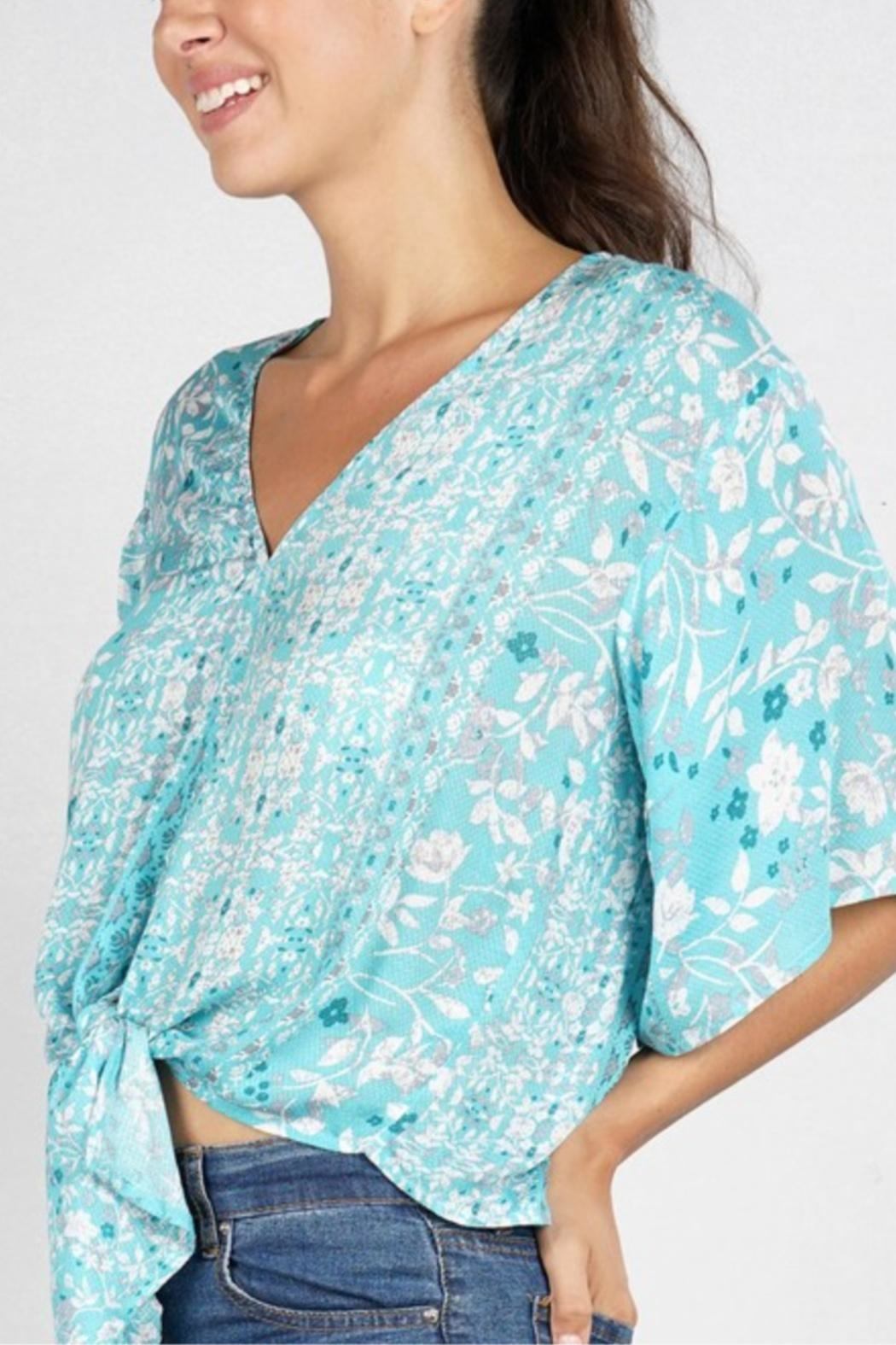 Lovestitch Printed Kimono-Sleeve Top - Side Cropped Image