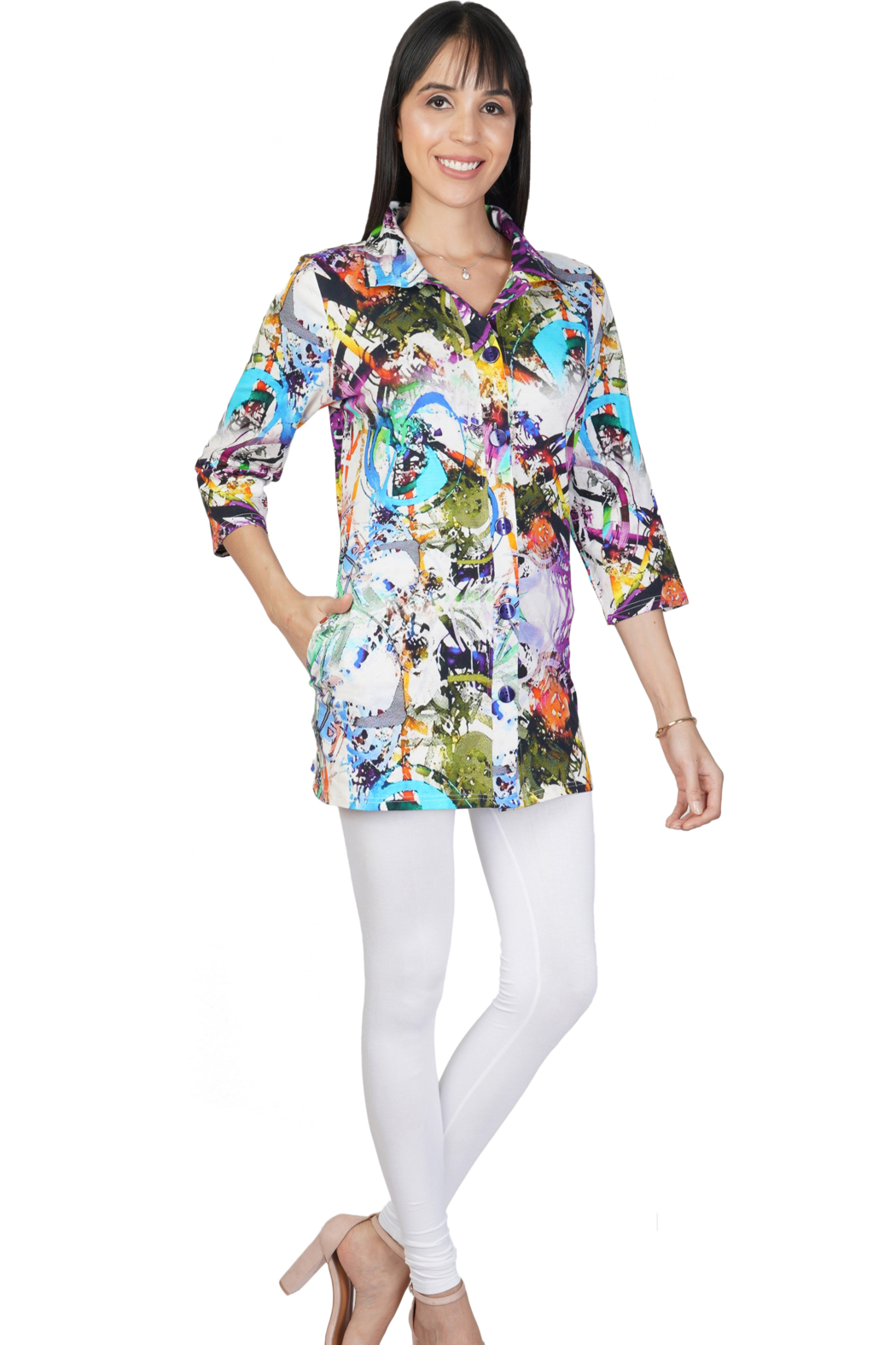 Parsley and Sage  Printed Knit Tunic-Carmen Long Shirt - Front Cropped Image