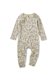 Tea Collection Printed Lap Shoulder Romper - Slothin' Around - Product Mini Image