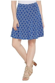 Susan Graver Printed Liquid Knit 8 Gore Pull-On Skort - Front cropped