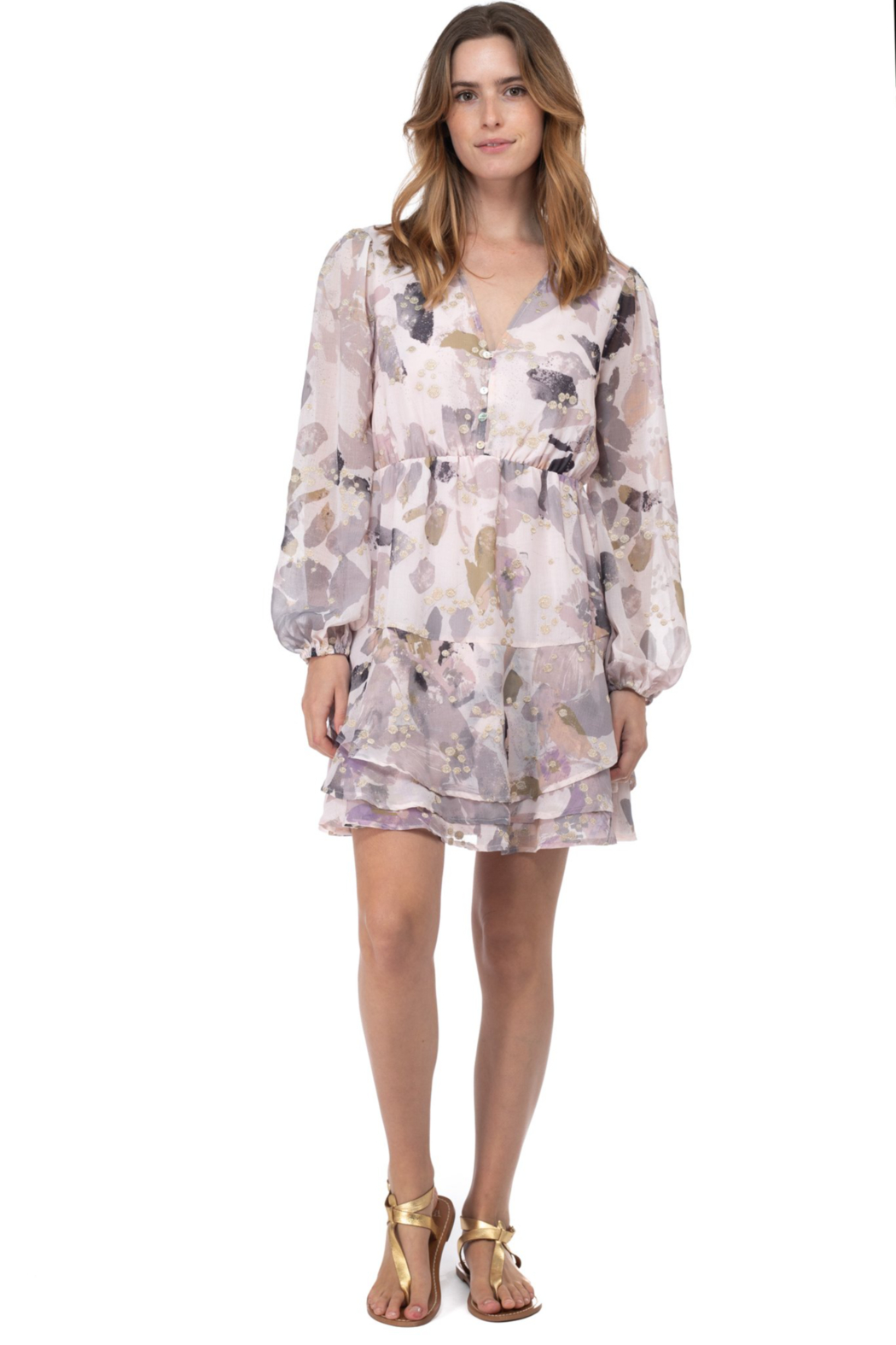 BTFL Life Printed Long Sleeve Dress - Front Cropped Image