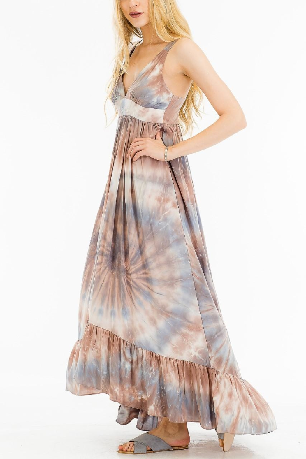 Olivaceous Printed Maxi Dress - Front Full Image