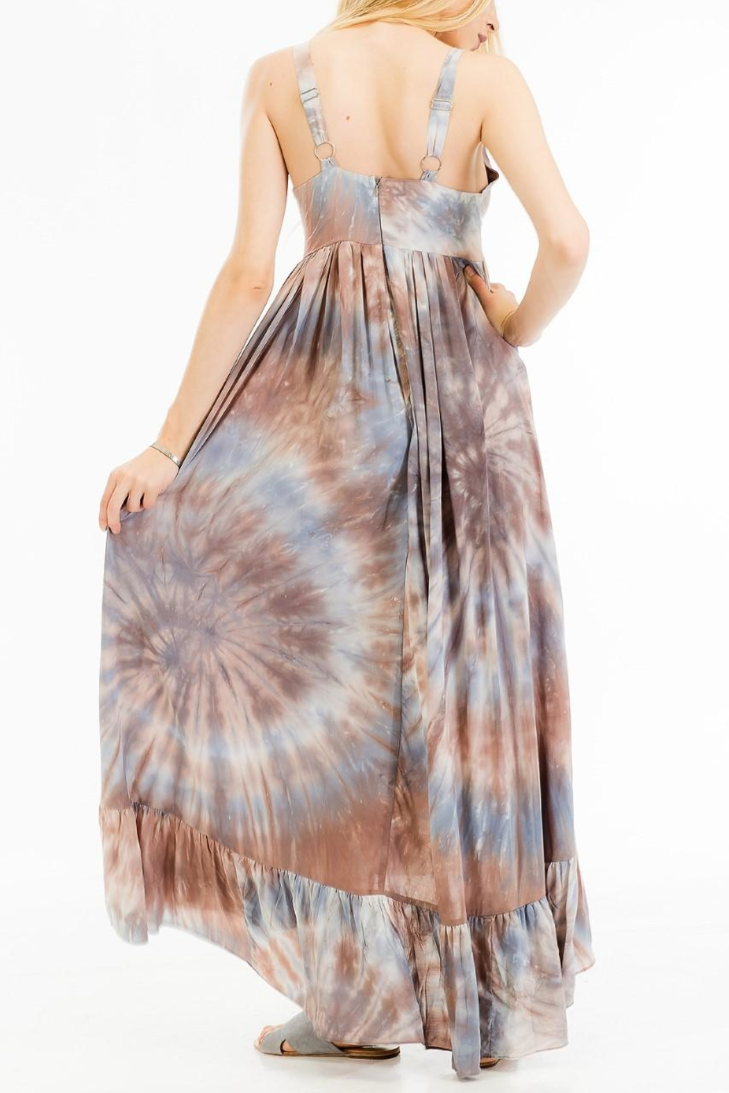 Olivaceous Printed Maxi Dress - Side Cropped Image