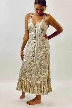 Seventy Five Degrees and Fuzzy Printed Maxi Dress in Taupe and Blue - Product List Image