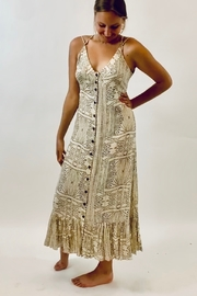 Seventy Five Degrees and Fuzzy Printed Maxi Dress in Taupe and Blue - Product Mini Image