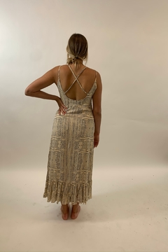 Seventy Five Degrees and Fuzzy Printed Maxi Dress in Taupe and Blue - Alternate List Image