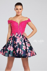 Ellie Wilde Printed Mikado and Lace Gown - Product Mini Image