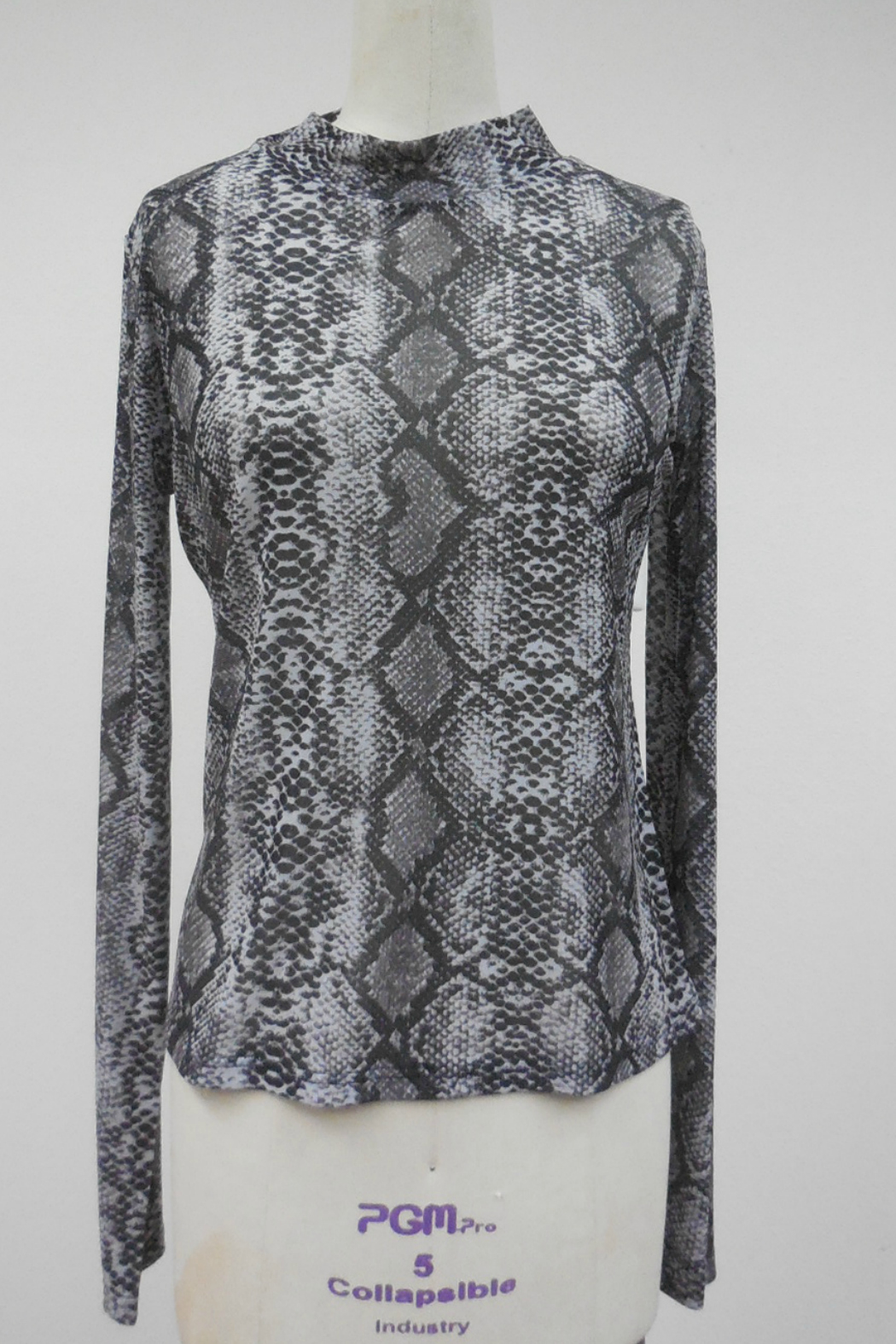 Hem & Thread Printed mock neck mesh top - Front Cropped Image