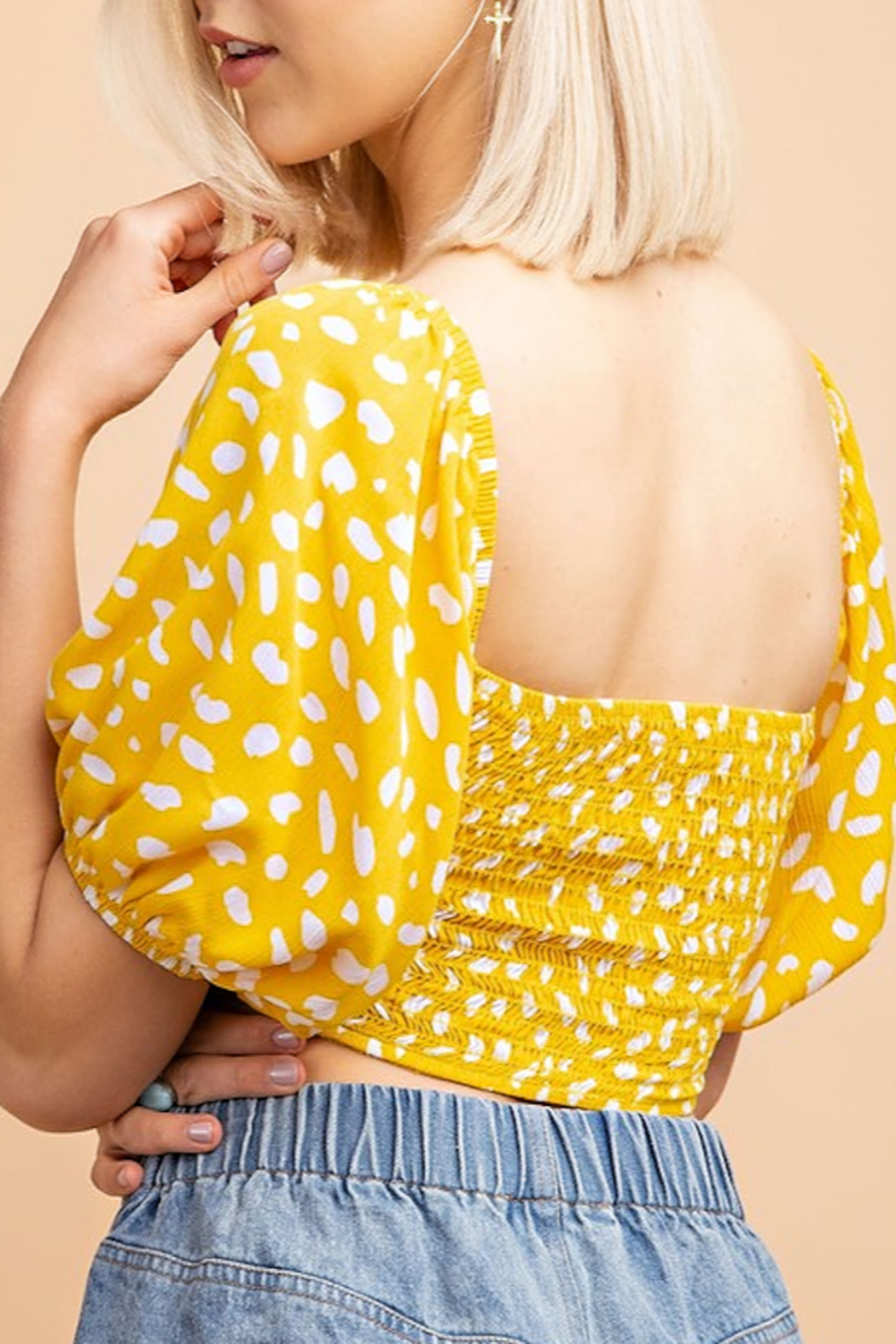 Le Lis Printed  OTS Puff Sleeve Crop Top - Front Full Image