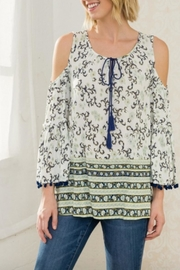 Mystree Printed Peasant Blouse - Product Mini Image