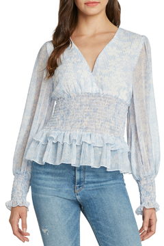 Willow & Clay Printed Peplum Blousan Sleeve Top - Alternate List Image