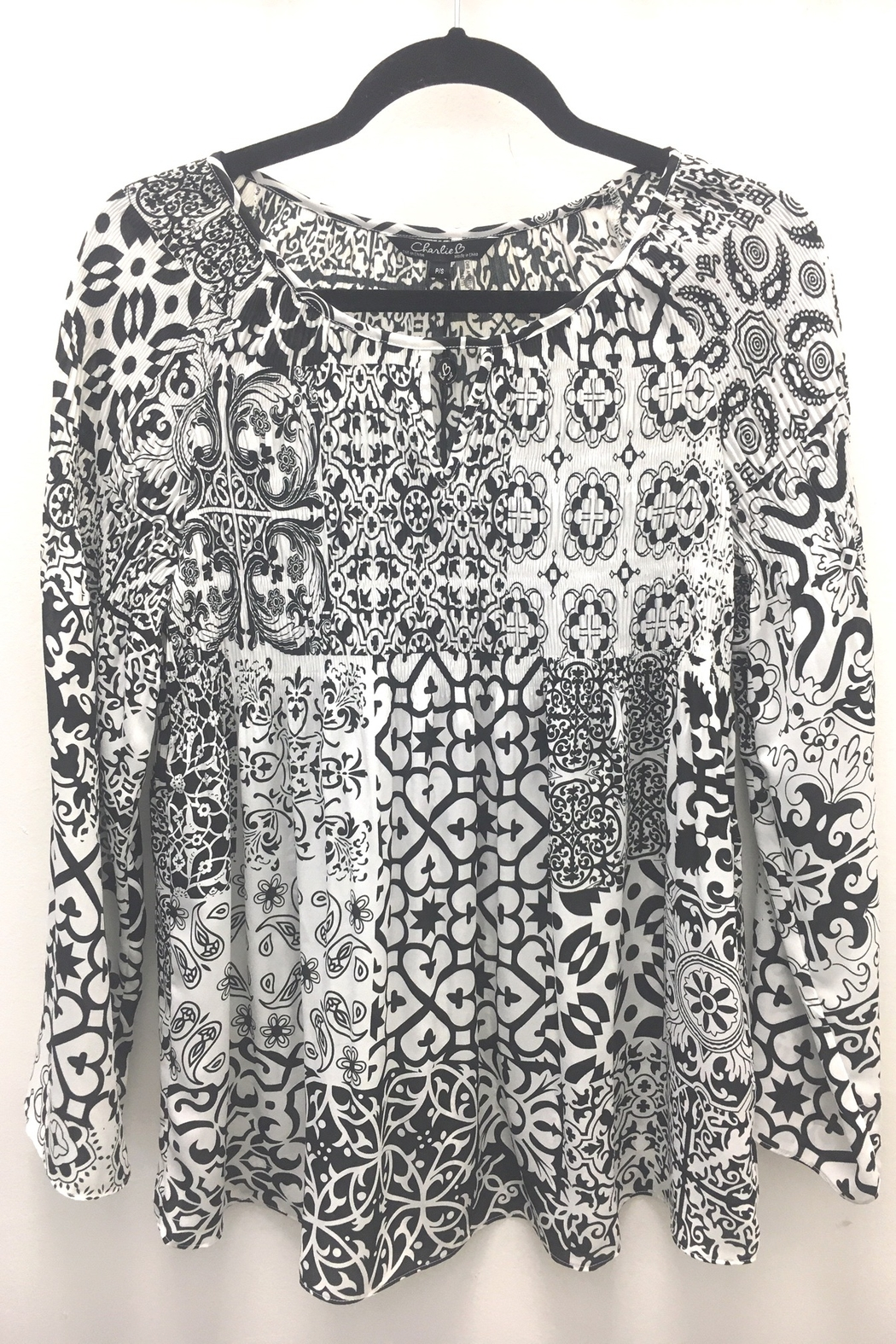 Charlie B Printed Plisse Blouse - Front Cropped Image