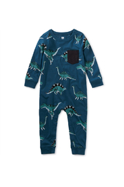 Tea Collection Printed Pocket Romper - Dynamic Dinos - Product Mini Image