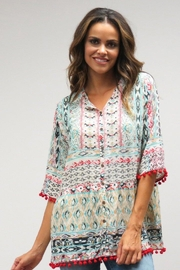 Caite Printed Pom-Pom Blouse - Product Mini Image