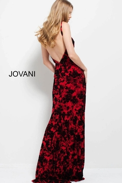 Jovani PROM Floral Red and Black Gown - Alternate List Image