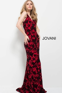 Jovani PROM Floral Red and Black Gown - Product List Image