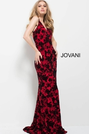 Jovani PROM Floral Red and Black Gown - Product Mini Image
