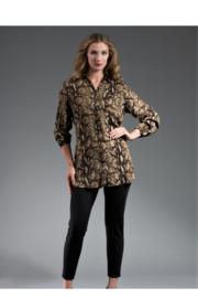 INSIGHT NYC Printed Rayon Top Olive Reptile - Product Mini Image