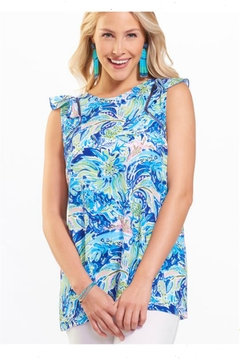 Charlie Paige Printed Ruffle Blouse - Product List Image