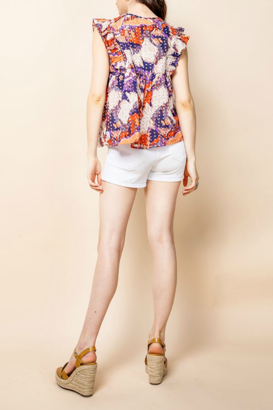 Thml Printed Ruffle Top - Front Full Image