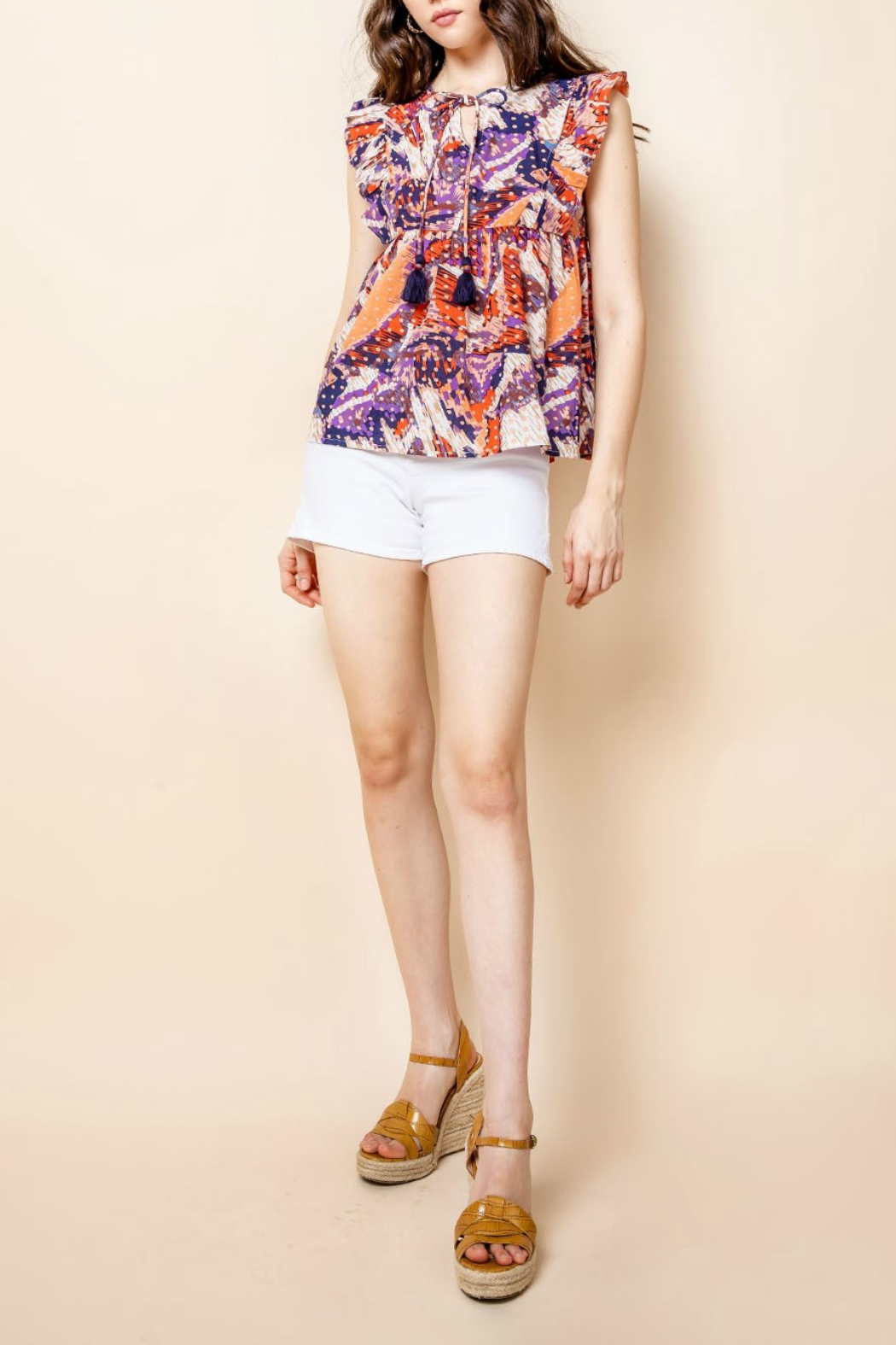 Thml Printed Ruffle Top - Main Image