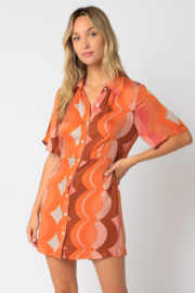 Olivaceous  Printed Shirt Dress - Product Mini Image